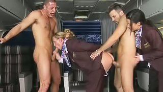 There are just two passengers and two hot stewardesses for them. Veronica Avluv and Tanya Tate gets fucked by naked guy with their uniform on, They love it in the ass
