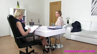 Amateur blonde with big boobs seduced by her lesbian boss