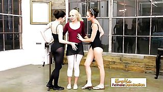 Ballet instructor having sex with two students in a hot lesbian threesome