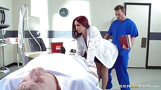 Horny doctor needed firm meat pole deep in her ass