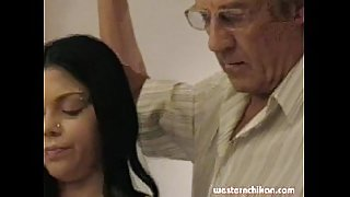 Old gropers young girl&#039_s big breasts grabbed by old man part1a