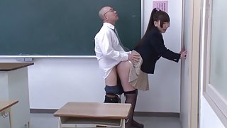 Incredible Japanese chick Ai Sayama, Karen Haruki in Crazy oldie, college JAV scene