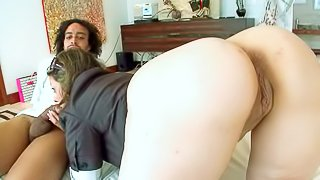 Hollywood shows off her huge bare ass and meaty pussy in this hot scene. She demonstrates her butt indoors and outdoors. Exotic guy loves her mega ass and she loves his beefy chocolate cock
