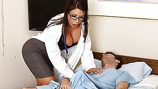 Foxy and busty brunette doctor...
